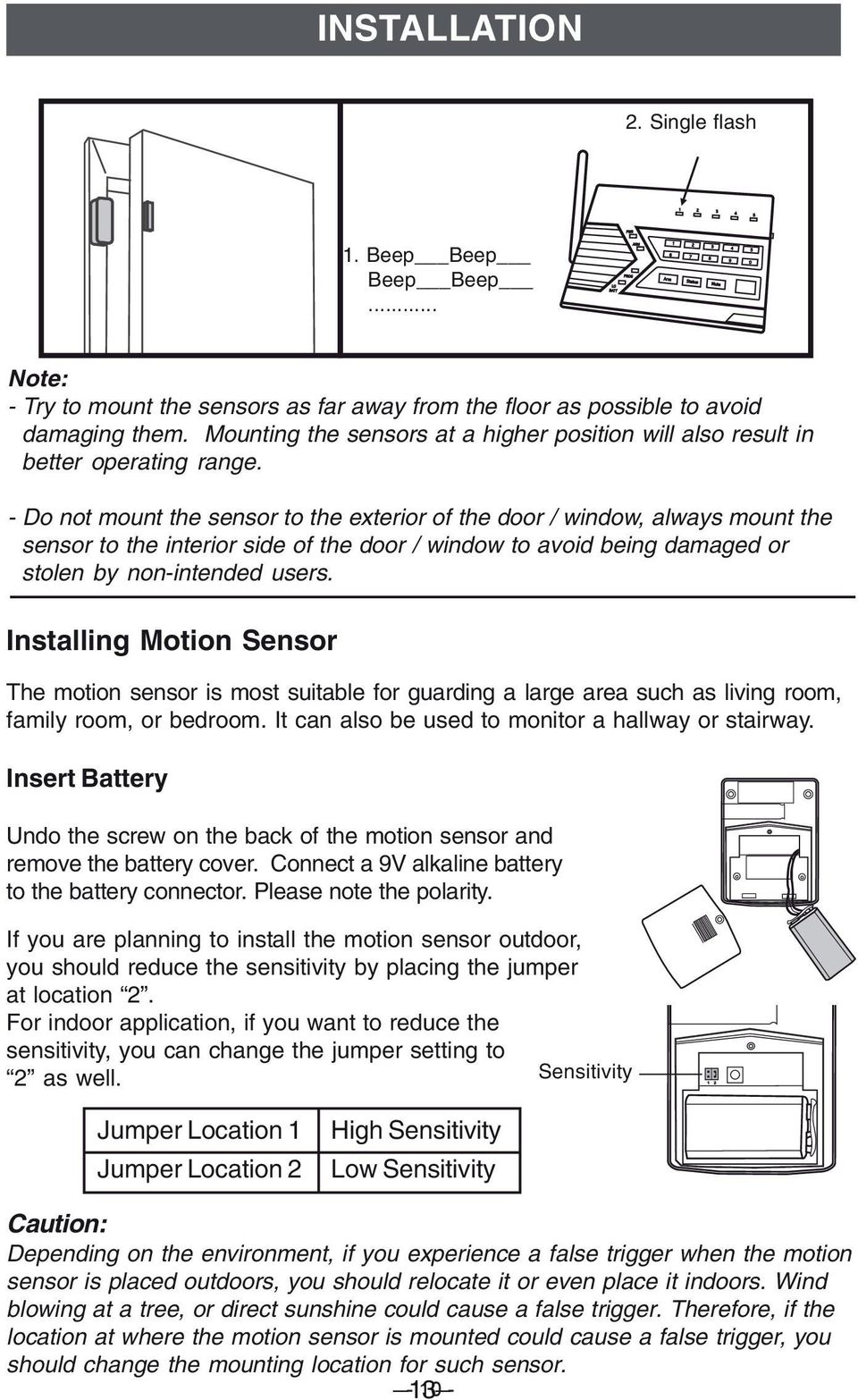 - Do not mount the sensor to the exterior of the door / window, always mount the sensor to the interior side of the door / window to avoid being damaged or stolen by non-intended users.