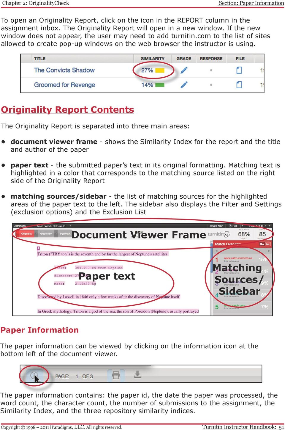 Originality Report Contents The Originality Report is separated into three main areas: document viewer frame - shows the Similarity Index for the report and the title and author of the paper paper