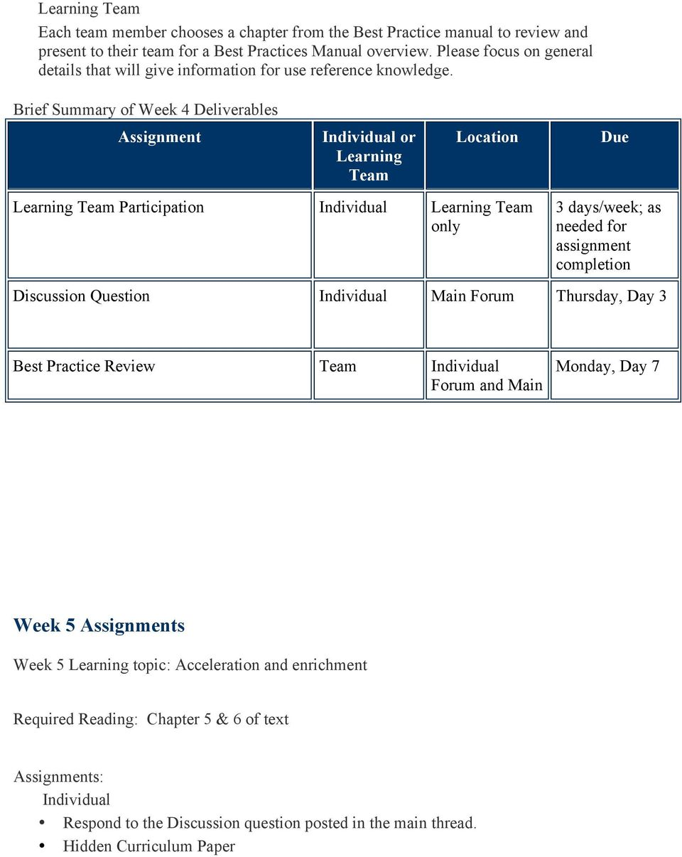 Brief Summary of Week 4 Deliverables Assignment or Learning Location Due Learning Participation Learning only 3 days/week; as needed for assignment completion Discussion