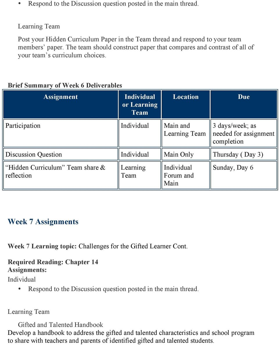Brief Summary of Week 6 Deliverables Assignment or Learning Location Due Participation Main and Learning 3 days/week; as needed for assignment completion Discussion Question Main Only Thursday ( Day