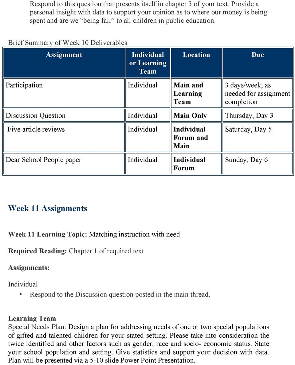 Brief Summary of Week 10 Deliverables Assignment or Learning Location Due Participation Main and Learning 3 days/week; as needed for assignment completion Discussion Question Main Only Thursday, Day