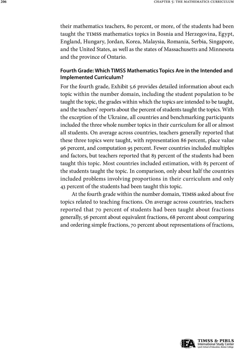 Fourth Grade: Which TIMSS Mathematics Topics Are in the Intended and Implemented Curriculum? For the fourth, Exhibit 5.