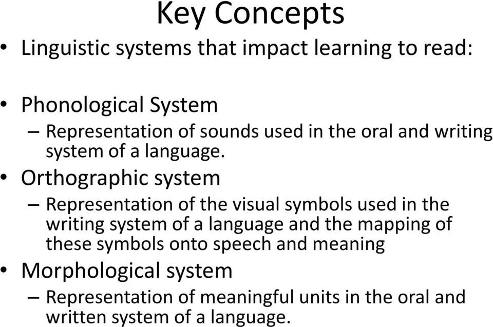 Orthographic system Representation of the visual symbols used in the writing system of a language and