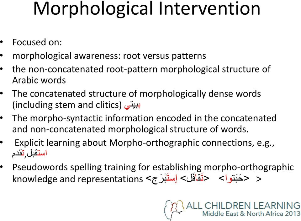 encoded in the concatenated and non-concatenated morphological structure of words. Explicit learning about Morpho-orthographic connections, e.