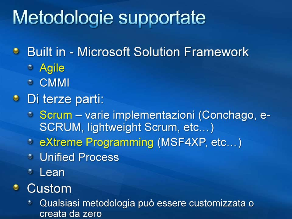 Scrum, etc ) extreme Programming (MSF4XP, etc ) Unified Process