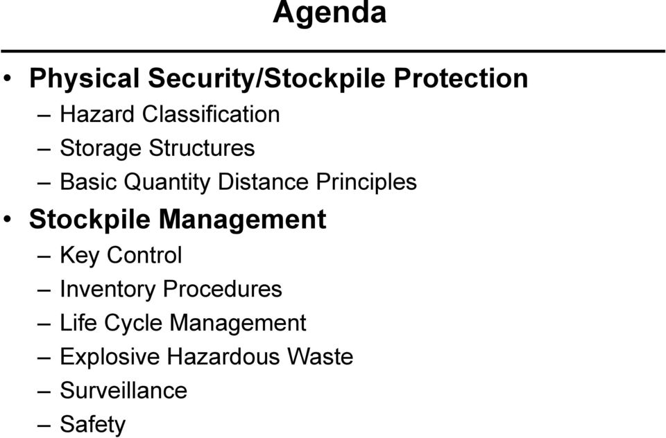 Principles Stockpile Management Key Control Inventory