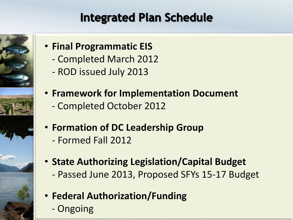Leadership Group - Formed Fall 2012 State Authorizing Legislation/Capital