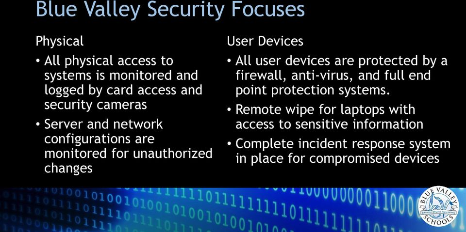 All user devices are protected by a firewall, anti-virus, and full end point protection systems.