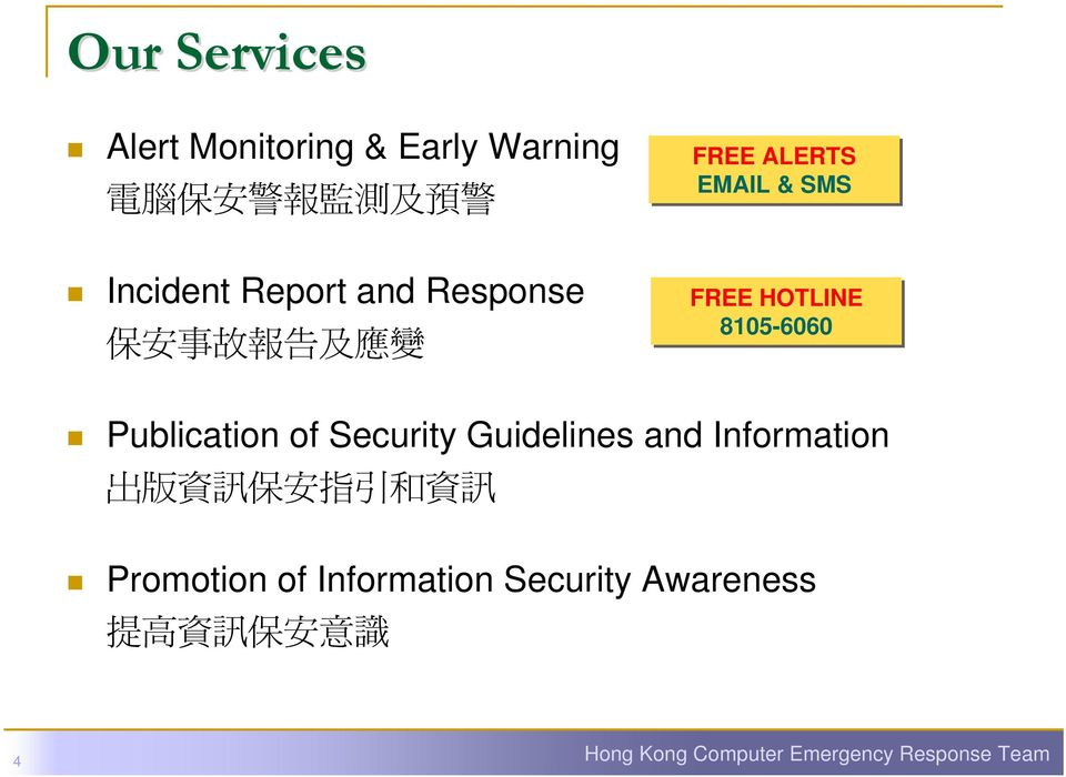 Publication of Security Guidelines and Information 出 版 資 訊 保 安 指 引 和 資 訊 Promotion