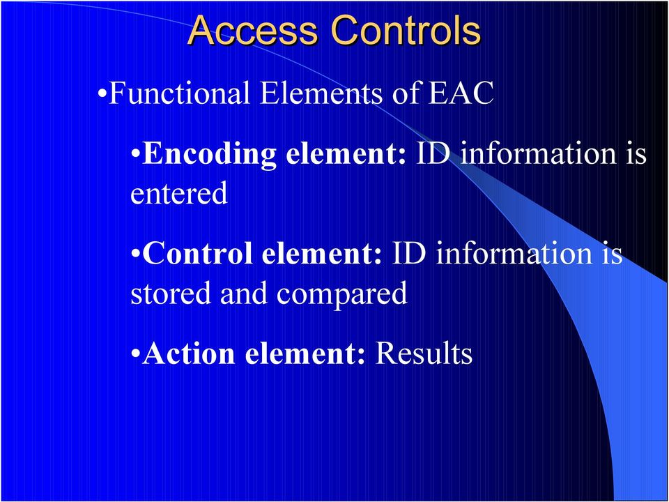 entered Control element: ID information