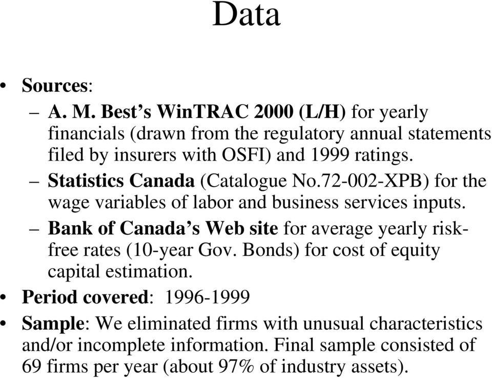 Statistics Canada (Catalogue No.72-002-XPB) for the wage variables of labor and business services inputs.