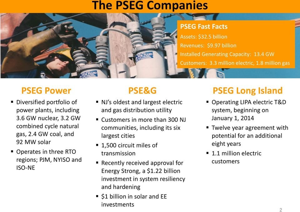 4 GW coal, and 92 MW solar Operates in three RTO regions; PJM, NYISO and ISO-NE PSE&G NJ s oldest and largest electric and gas distribution utility Customers in more than 300 NJ communities,