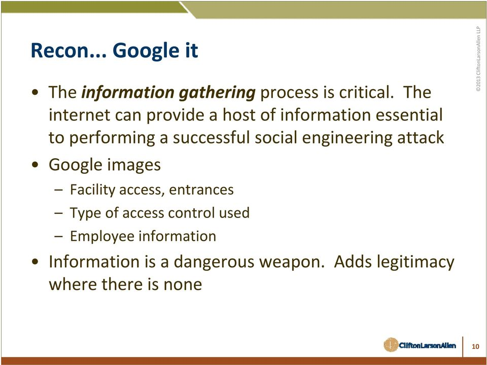 social engineering attack Google images Facility access, entrances Type of access