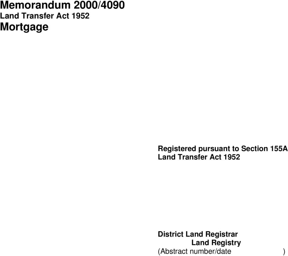 155A Land Transfer Act 1952 District Land