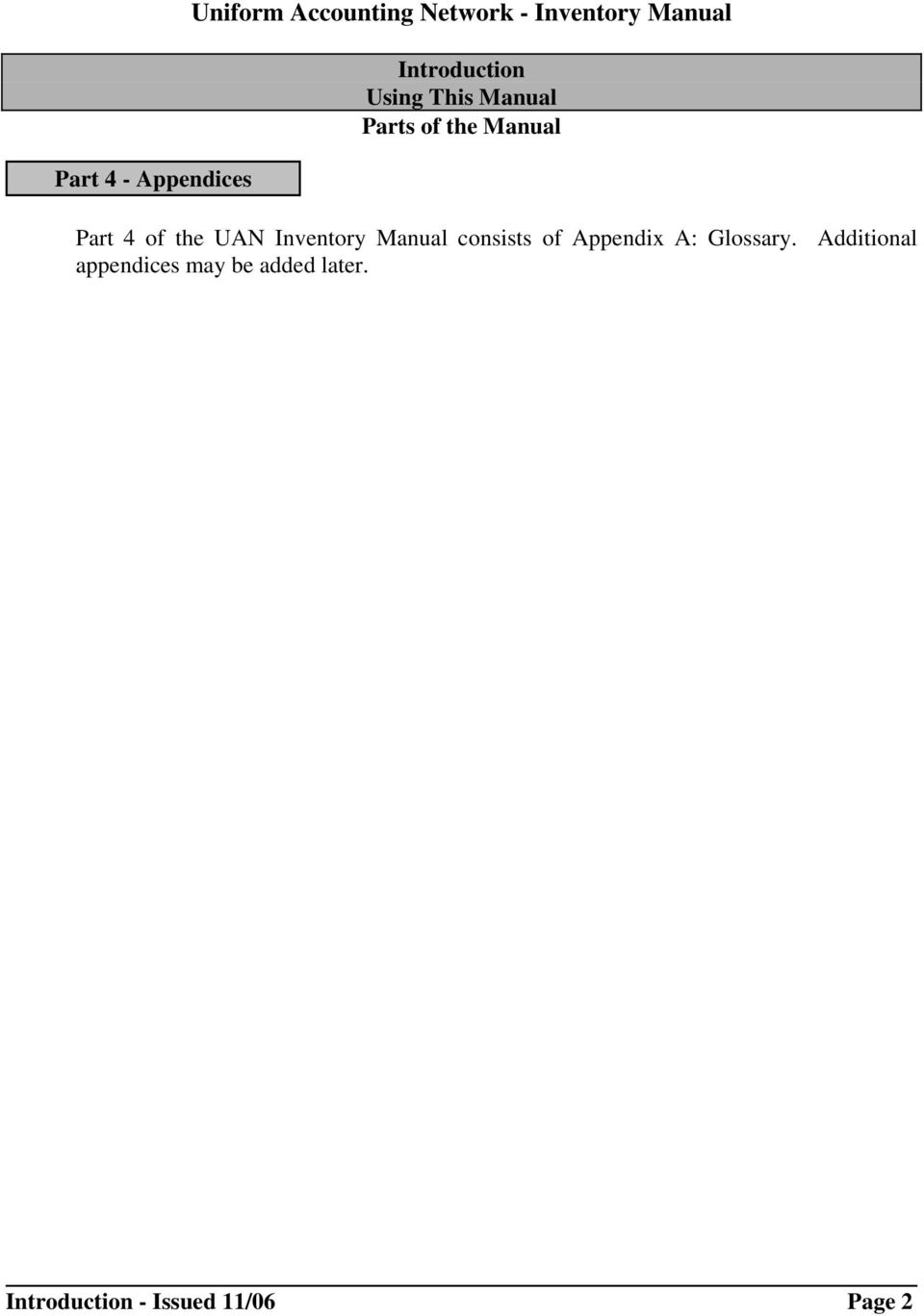 UAN Inventory Manual consists of Appendix A: Glossary.