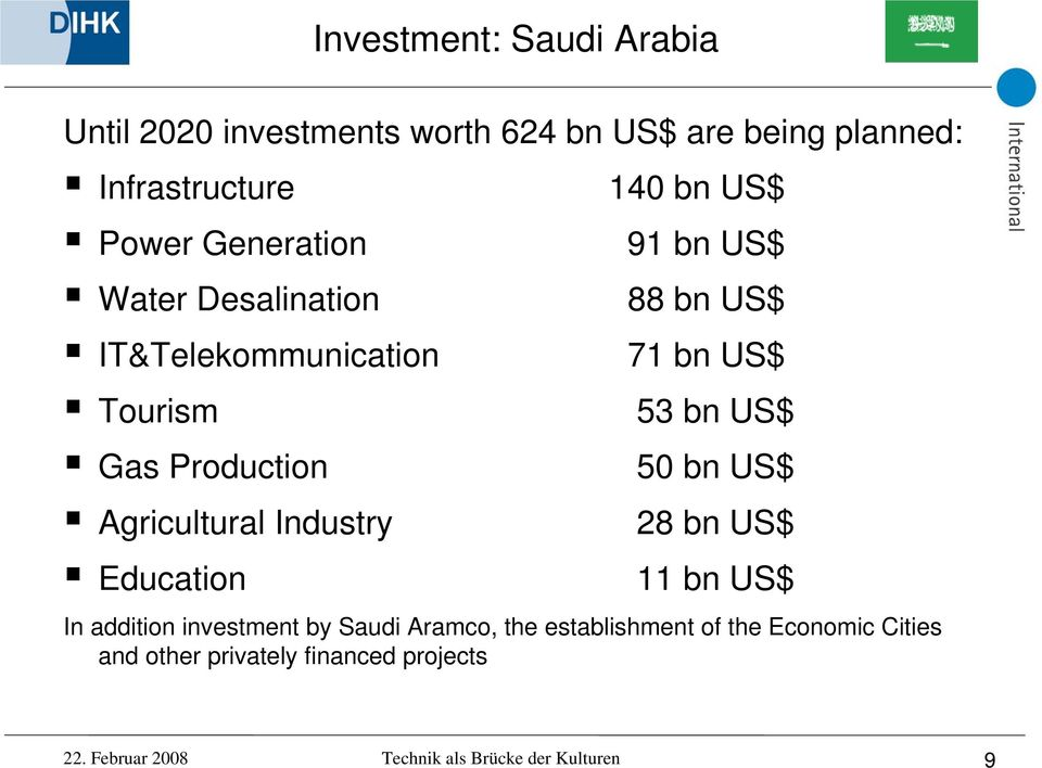 50 bn US$ Agricultural Industry 28 bn US$ Education 11 bn US$ In addition investment by Saudi Aramco, the