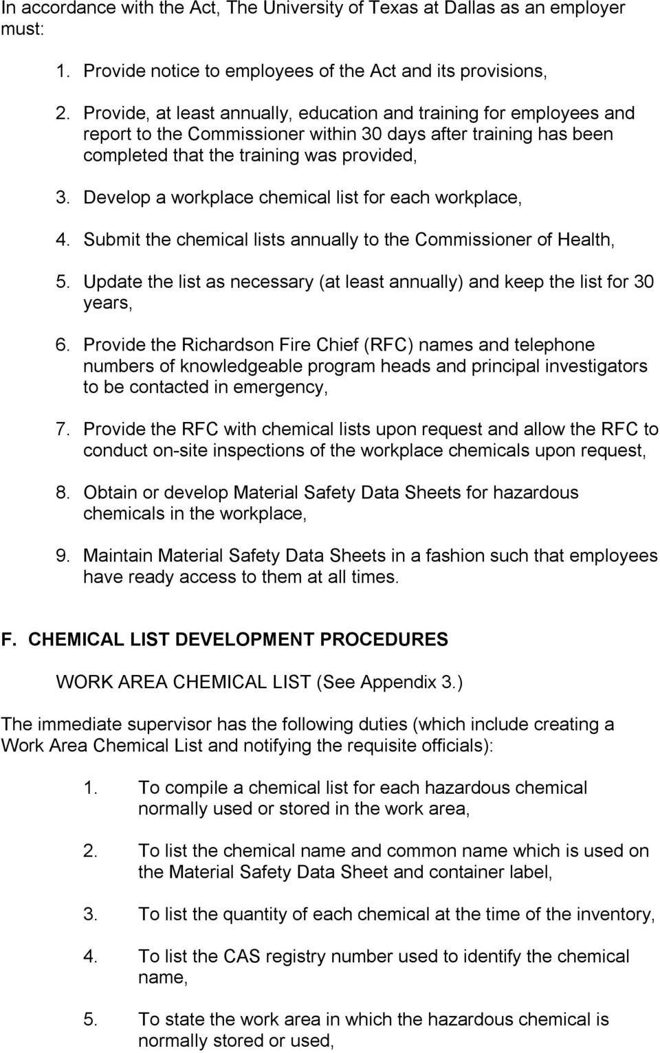 Develop a workplace chemical list for each workplace, 4. Submit the chemical lists annually to the Commissioner of Health, 5.
