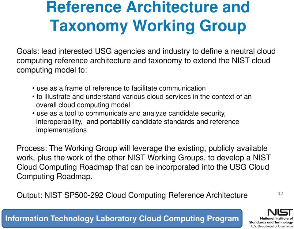 communicate and analyze candidate security, interoperability, and portability candidate standards and reference implementations Process: The Working Group will leverage the existing, publicly
