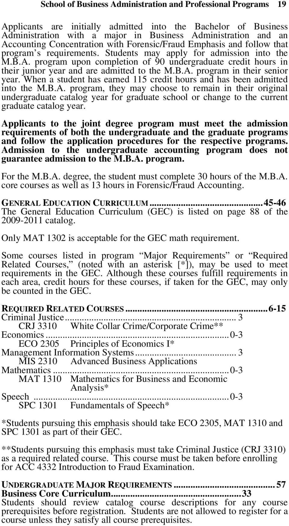 program upon completion of 90 undergraduate credit hours in their junior year and are admitted to the M.B.A. program in their senior year.