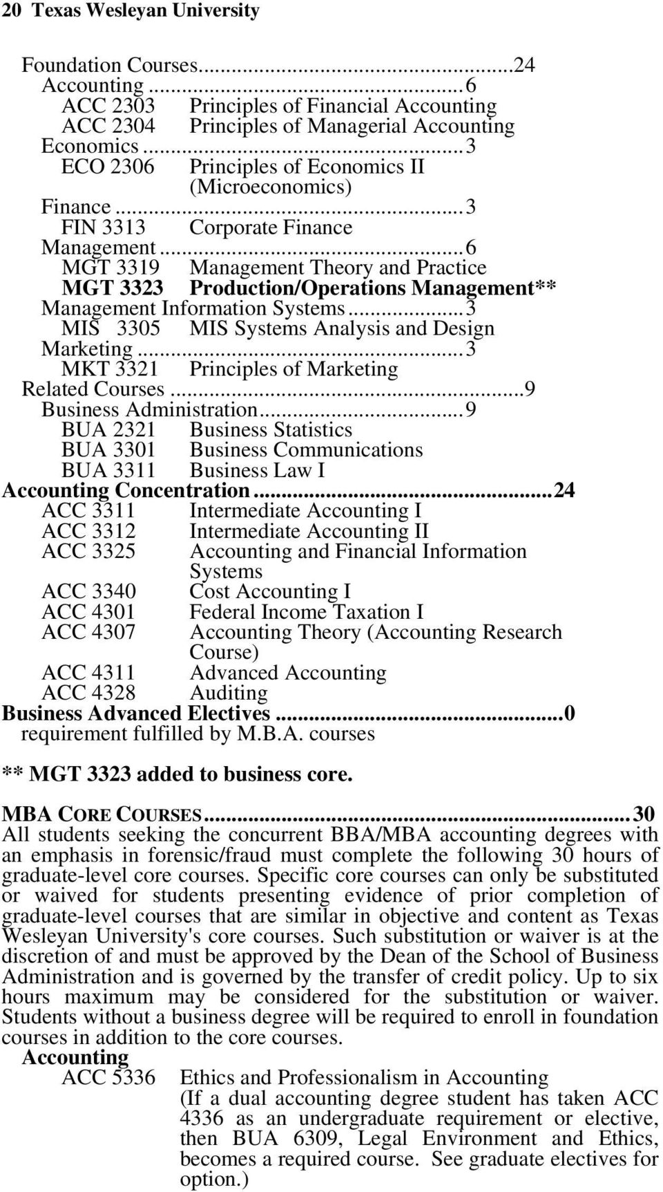 .. 6 MGT 3319 Management Theory and Practice MGT 3323 Production/Operations Management** Management Information Systems... 3 MIS 3305 MIS Systems Analysis and Design Marketing.