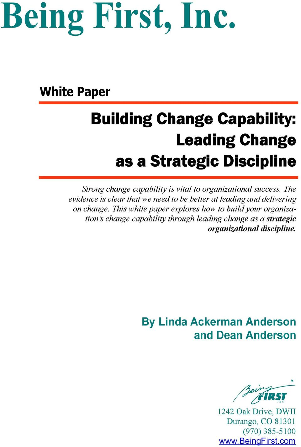 leading change paper This document presents leading practices in change management it is intended for managers, network operations personnel and practitioners in it service management this paper presents a change management process that meets the following requirements.