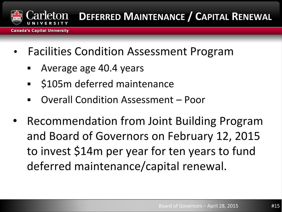 Building Program and Board of Governors on February 12, 2015 to invest $14m per year for ten years