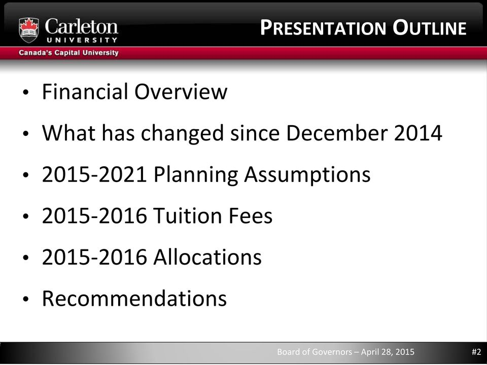 Assumptions 2015-2016 Tuition Fees 2015-2016