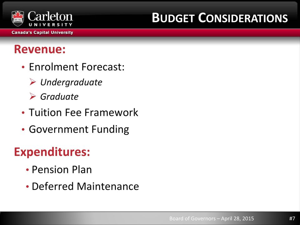 Framework Government Funding Expenditures:
