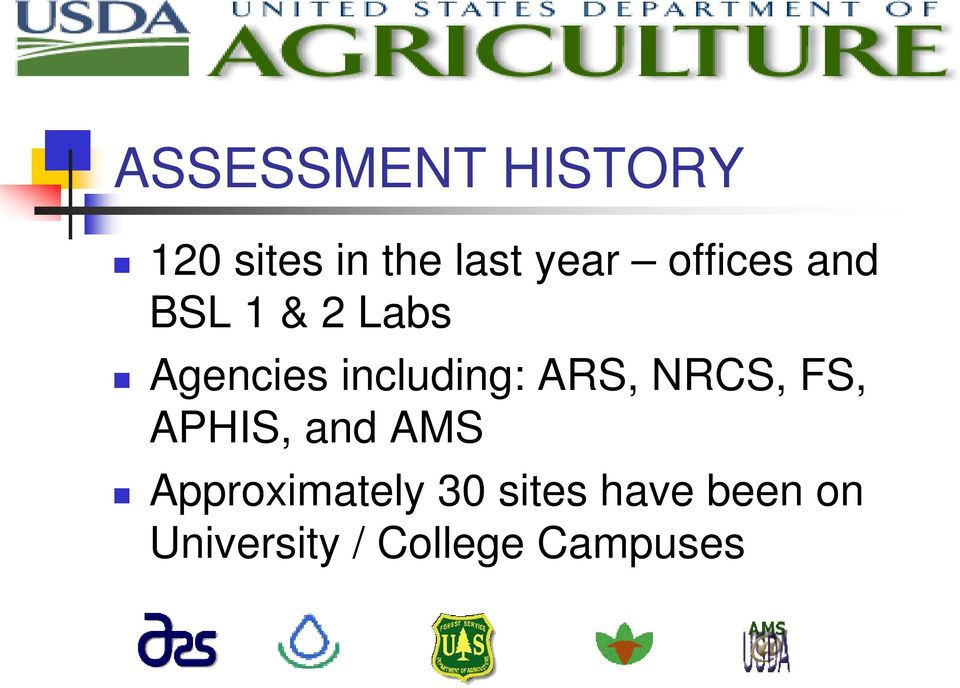 ARS, NRCS, FS, APHIS, and AMS Approximately 30