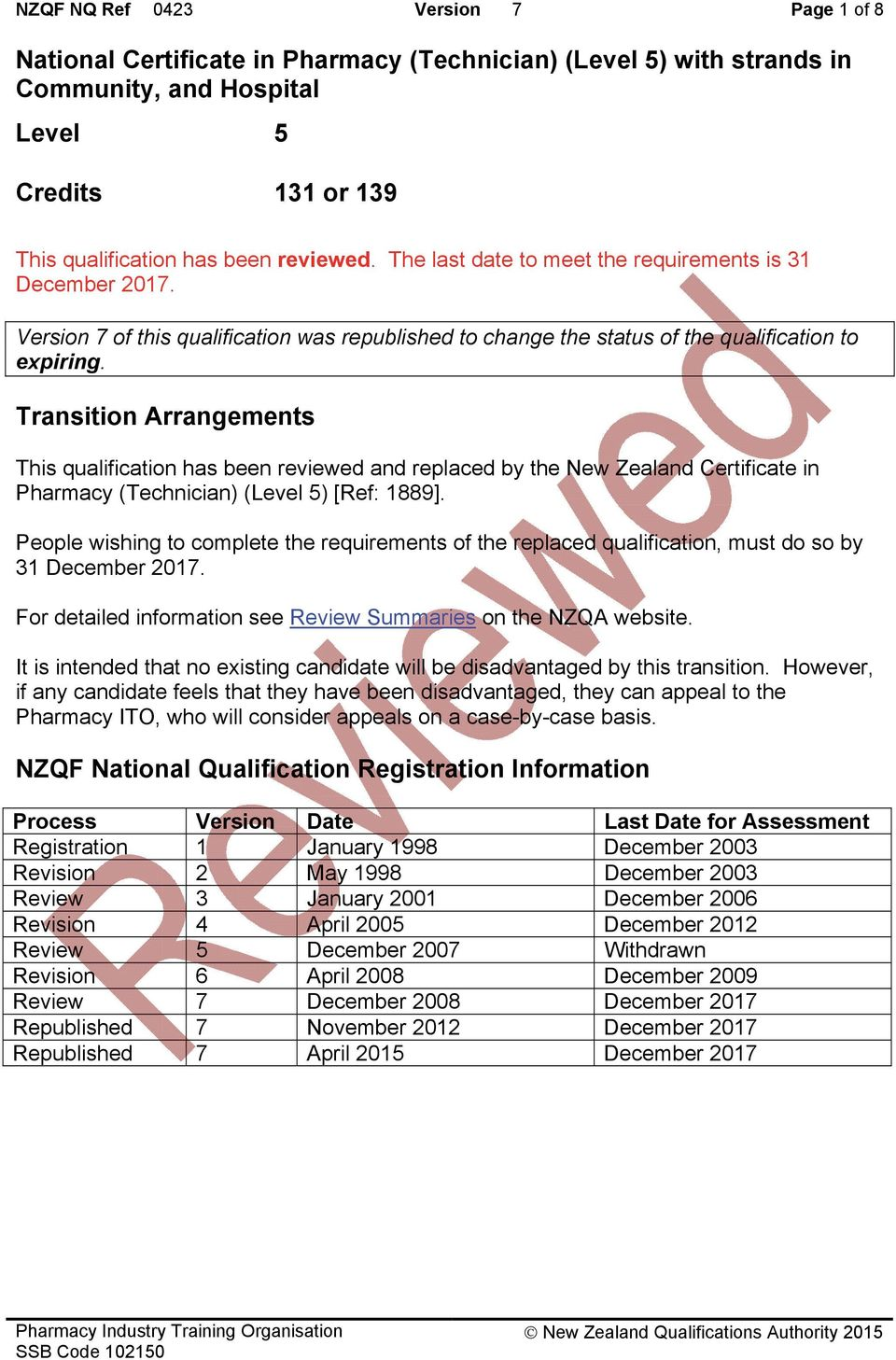 Transition Arrangements This qualification has been reviewed and replaced by the New Zealand Certificate in Pharmacy (Technician) (Level 5) [Ref: 1889].