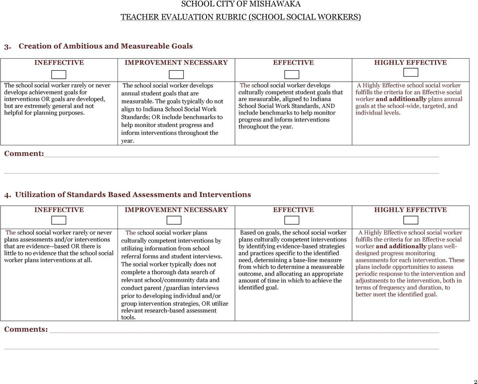 The goals typically do not align to Indiana School Social Work Standards; OR include benchmarks to help monitor student progress and inform interventions throughout the year.