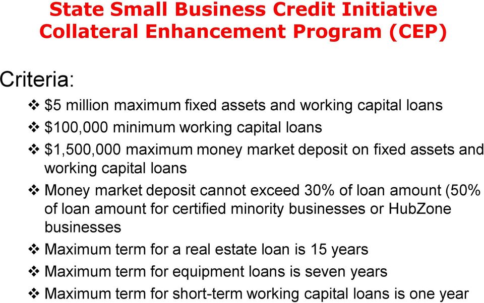 market deposit cannot exceed 30% of loan amount (50% of loan amount for certified minority businesses or HubZone businesses Maximum term