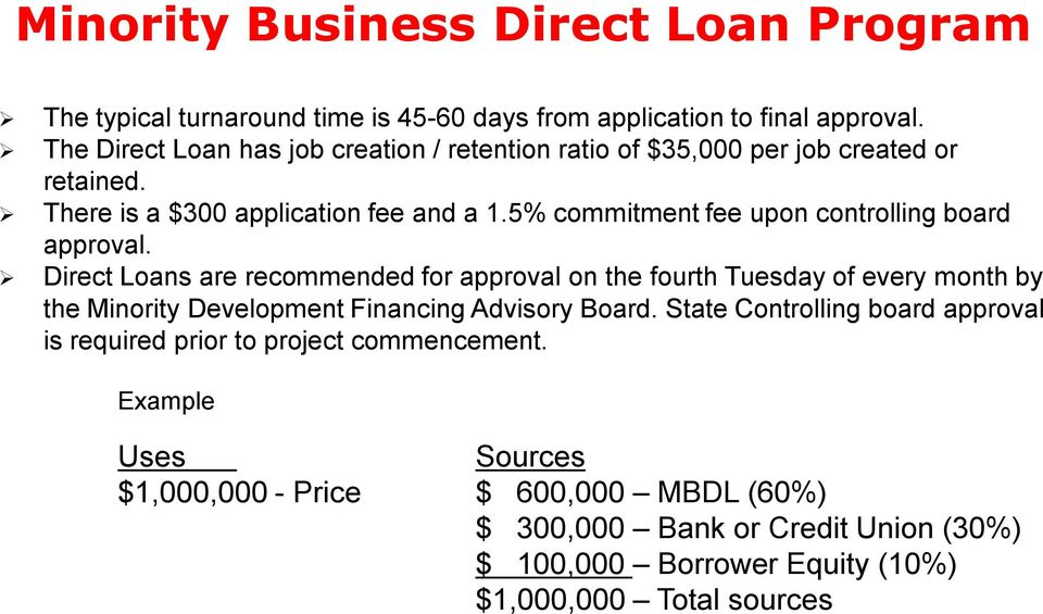 5% commitment fee upon controlling board approval.