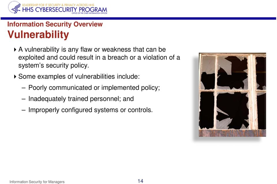Some examples of vulnerabilities include: Poorly communicated or implemented policy;