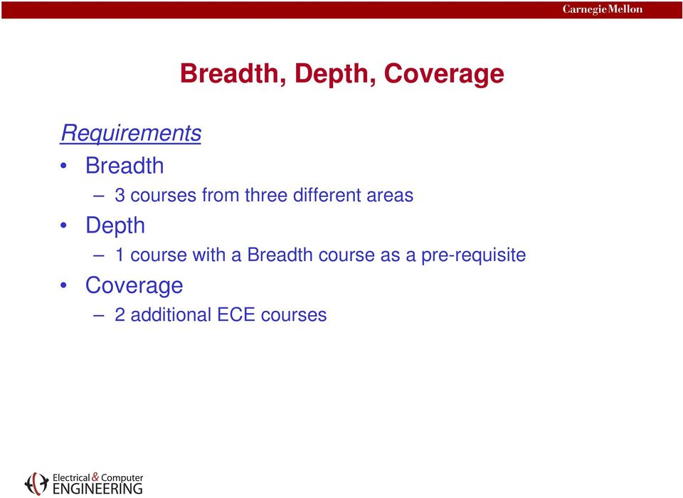 areas Depth 1 course with a Breadth course