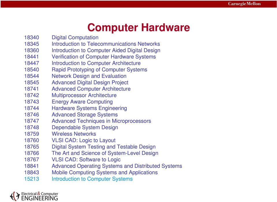 Multiprocessor Architecture 18743 Energy Aware Computing 18744 Hardware Systems Engineering 18746 Advanced Storage Systems 18747 Advanced Techniques in Microprocessors 18748 Dependable System Design