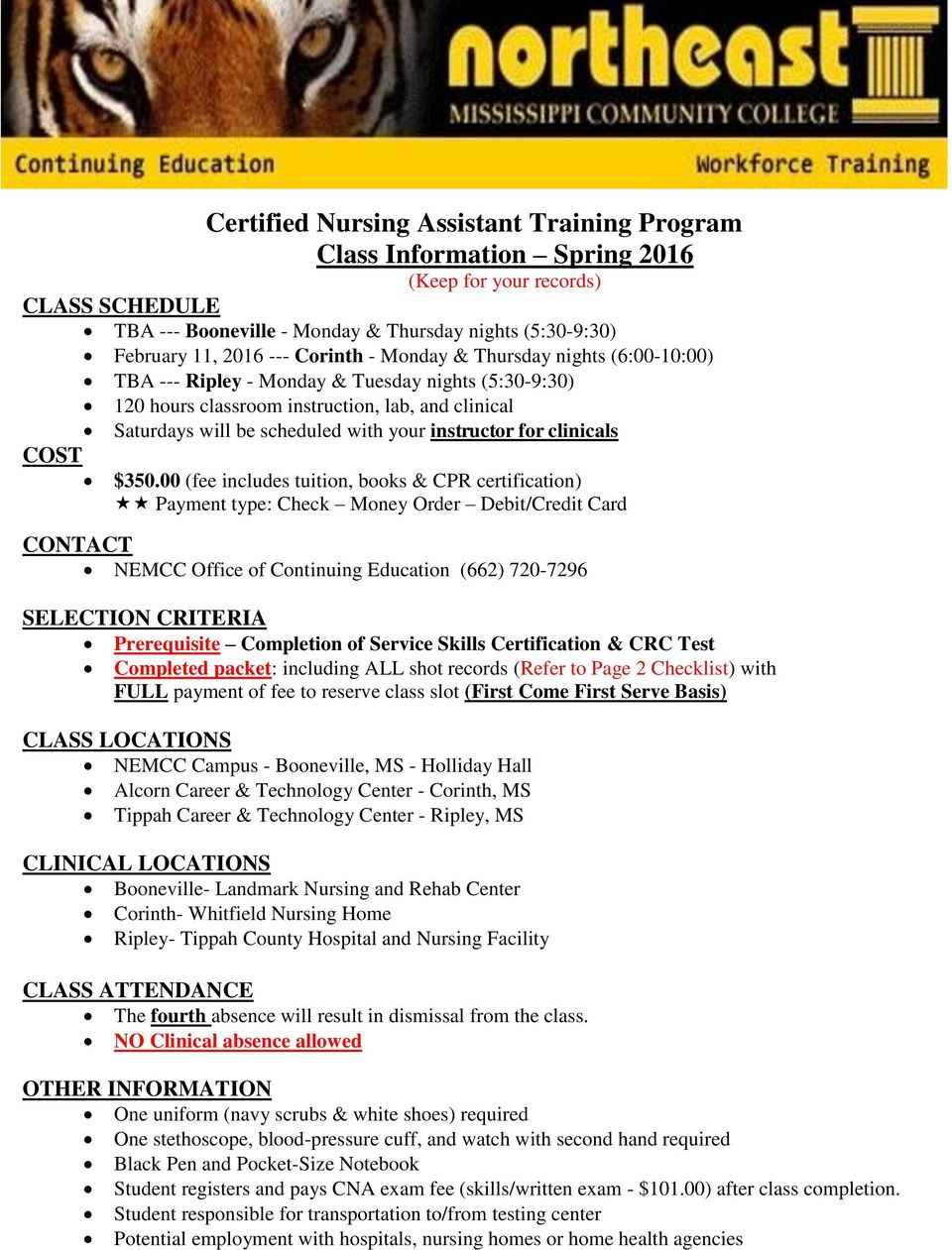 instructor for clinicals $350.