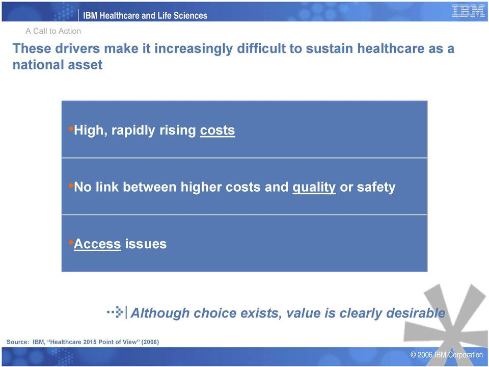 rising costs No link between higher costs and quality or safety Access issues