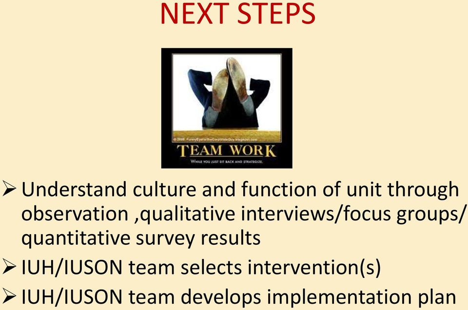 groups/ quantitative survey results IUH/IUSON team