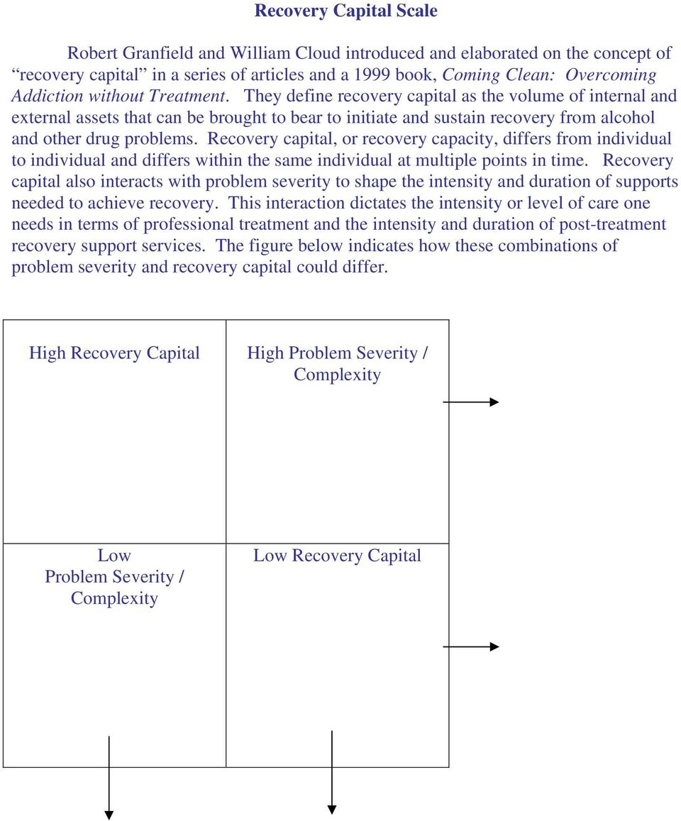 Recovery capital, or recovery capacity, differs from individual to individual and differs within the same individual at multiple points in time.