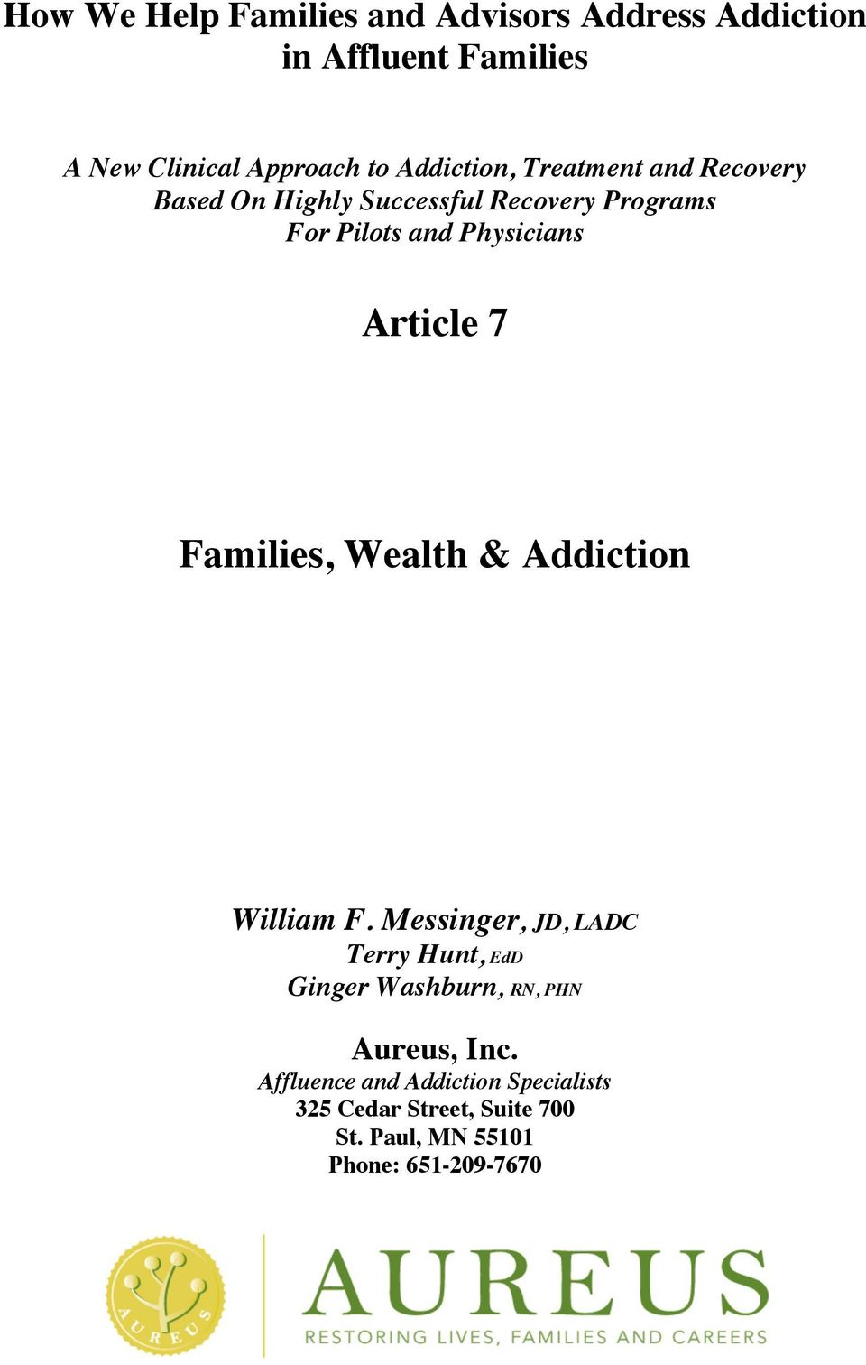 Article 7 Families, Wealth & Addiction William F.