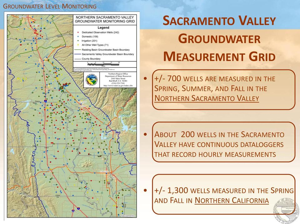 ABOUT 200 WELLS IN THE SACRAMENTO VALLEY HAVE CONTINUOUS DATALOGGERS THAT RECORD