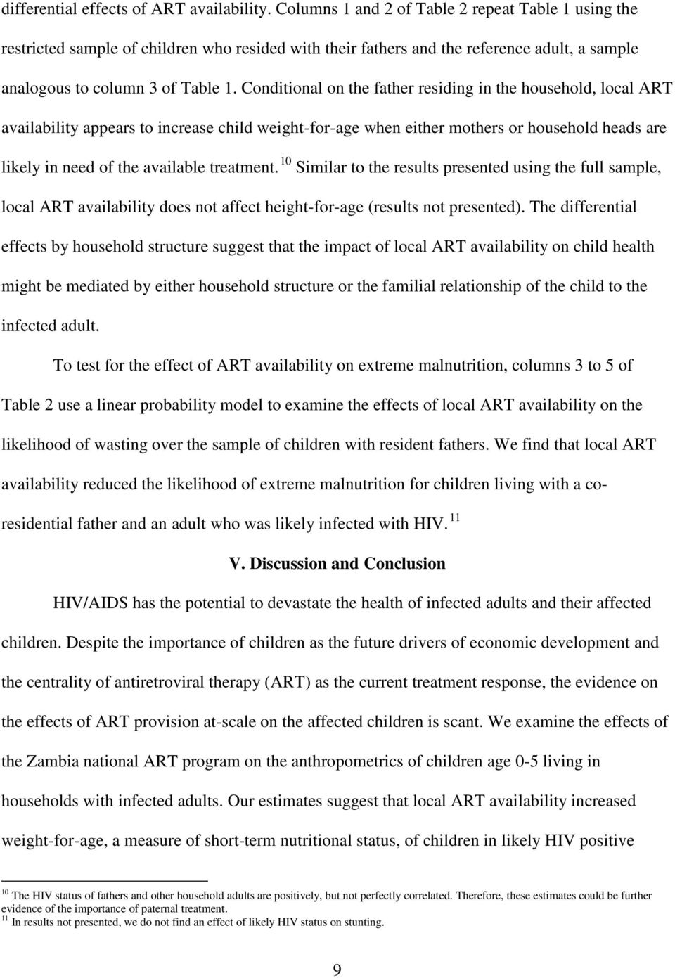 Conditional on the father residing in the household, local ART availability appears to increase child weight-for-age when either mothers or household heads are likely in need of the available