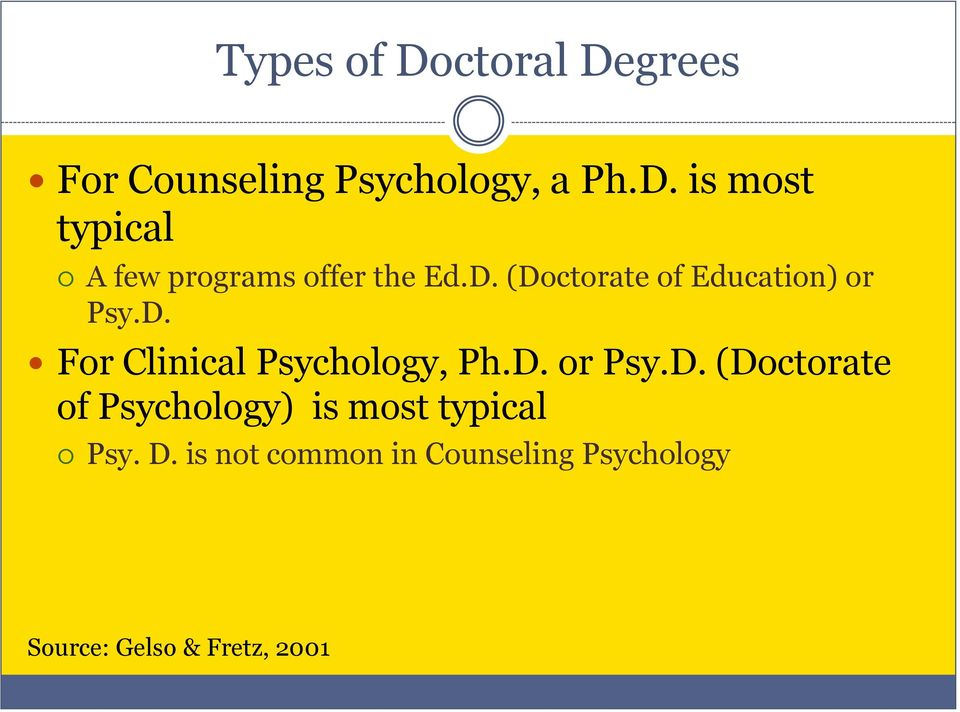 D. is not common in Counseling Psychology Source: Gelso & Fretz, 2001