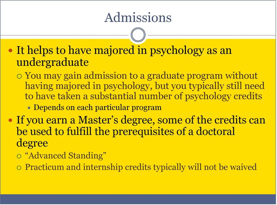 credits Depends on each particular program If you earn a Master s degree, some of the credits can be used to fulfill