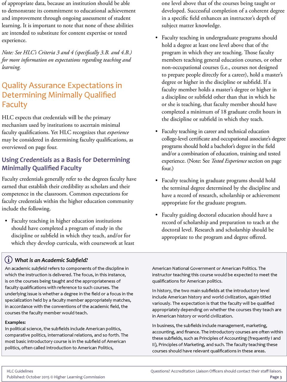 Determining Qualified Faculty through HLC s Criteria for