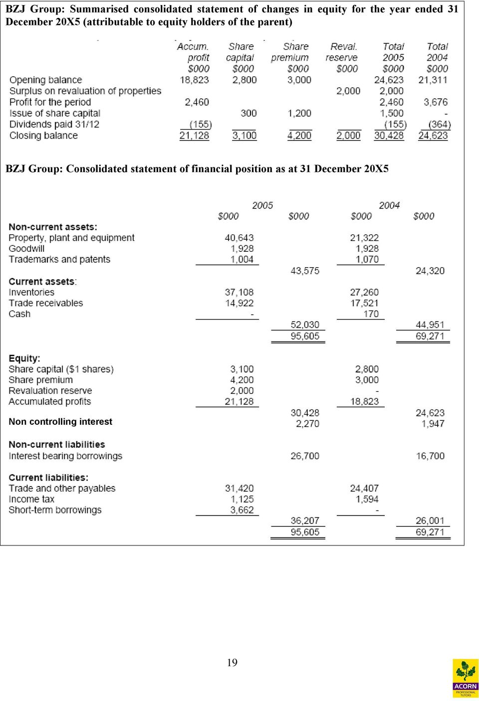 equity holders of the parent) BZJ Group: Consolidated statement