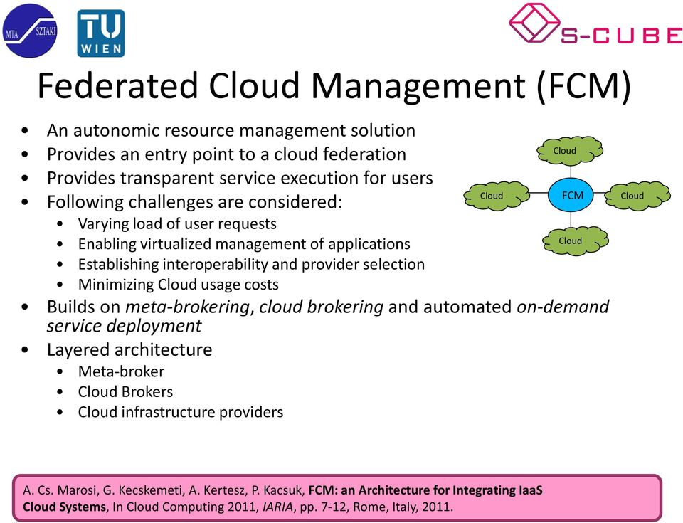 Cloud usage costs Cloud FCM Cloud Builds on meta-brokering, cloud brokeringand automated on-demand service deployment Layered architecture Meta-broker Cloud Brokers Cloud