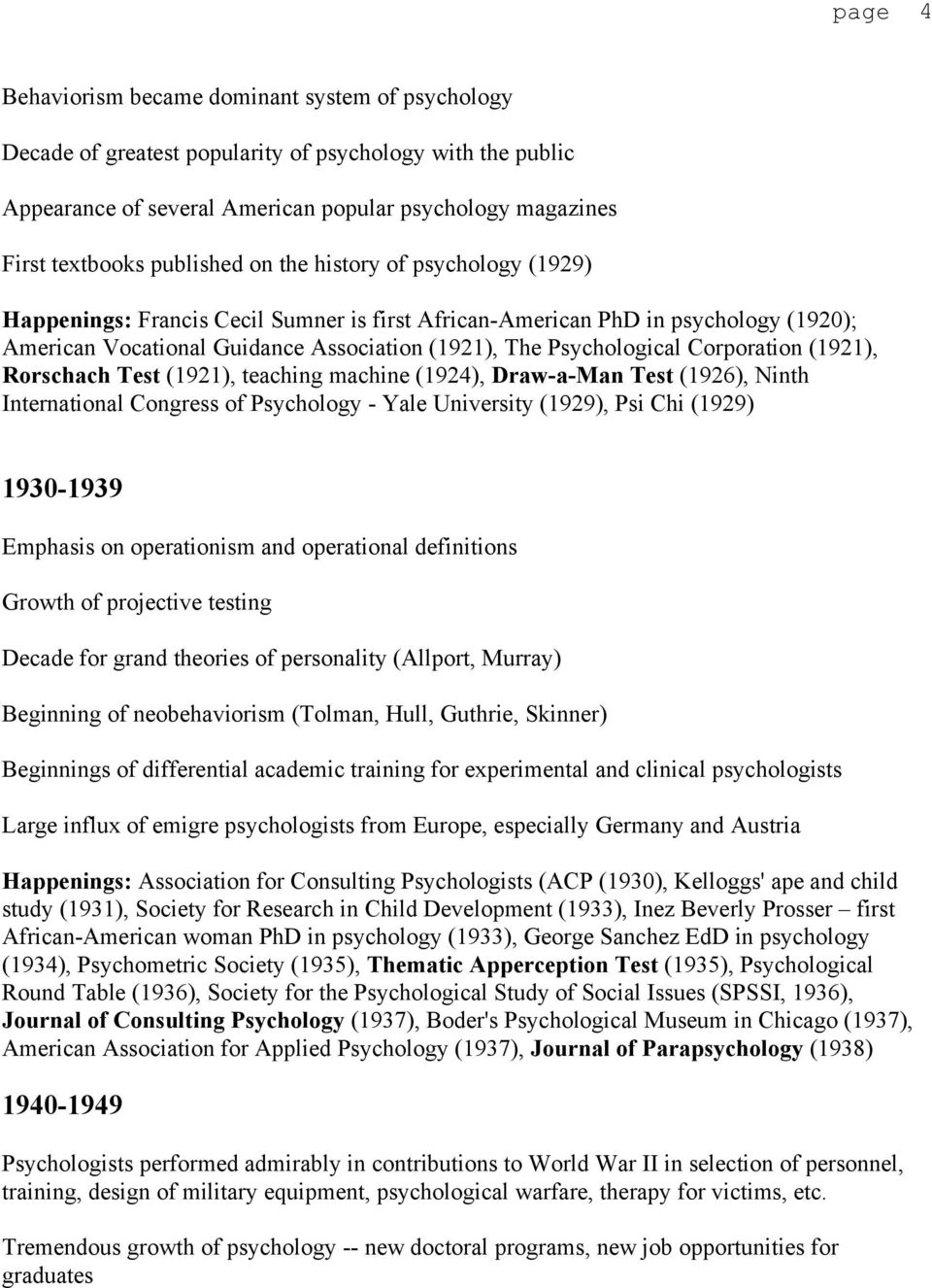 Corporation (1921), Rorschach Test (1921), teaching machine (1924), Draw-a-Man Test (1926), Ninth International Congress of Psychology - Yale University (1929), Psi Chi (1929) 1930-1939 Emphasis on
