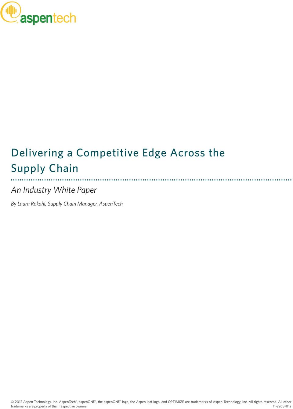 Industry White Paper By Laura